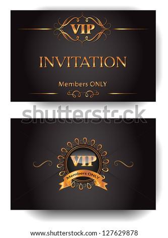VIP invitation envelope with gold design elements