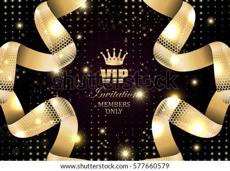 Vip invitation-members only, black glow background, vector illustration. Abstract quilted backdrop. Party premium card, flyer template. Silk textured curled ribbon. Celebrity access,coupon entrance