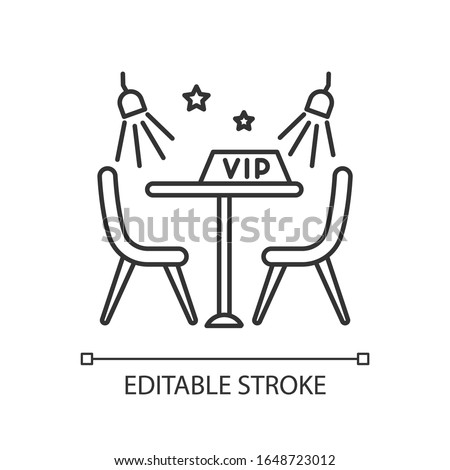VIP lounge zone pixel perfect linear icon. Thin line customizable illustration. Night club recreation, premium quality service contour symbol. Vector isolated outline drawing. Editable stroke
