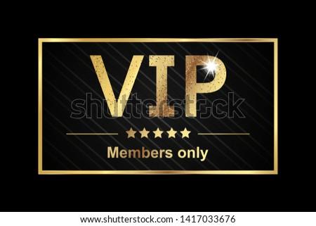 Vip Members Only Sticker - Golden Vector Illustration Banner Over Black Background Stock photo ©