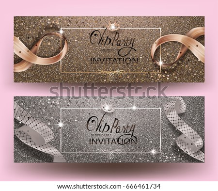 stock-vector-vip-party-banners-with-sparkling-backgrounds-frames-and-ribbons-vector-illustration