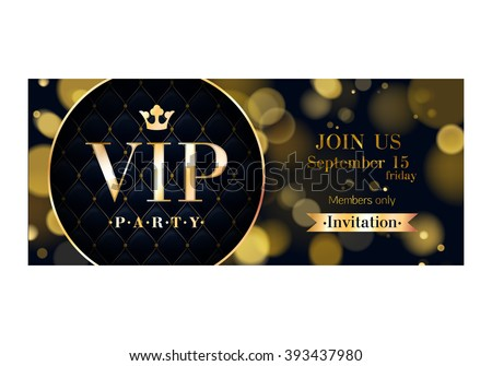 vip party premium invitation card poster flyer black and golden design template glow bokeh