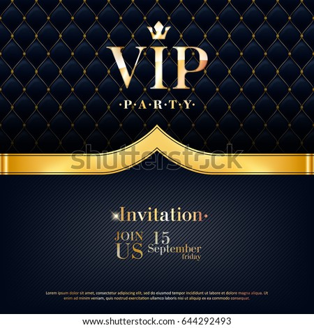 VIP party premium invitation card poster flyer. Black and golden design template. Quilted pattern decorative background with golden ribbon.