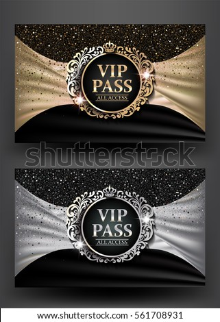 vip pass with vintage frame and ...