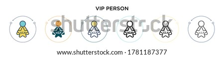 vip person icon in filled  thin