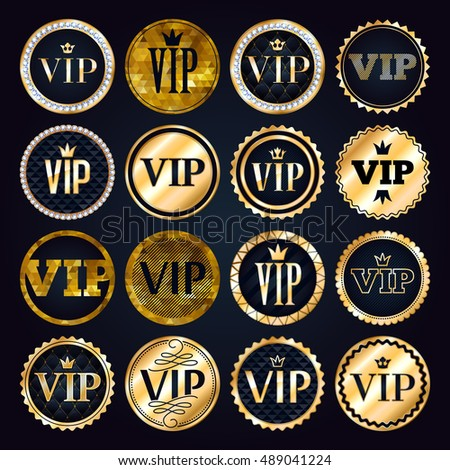 Vector Images, Illustrations and Cliparts: VIP premium golden badges