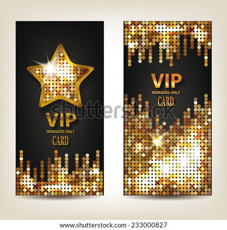 VIP shiny banners with disco background