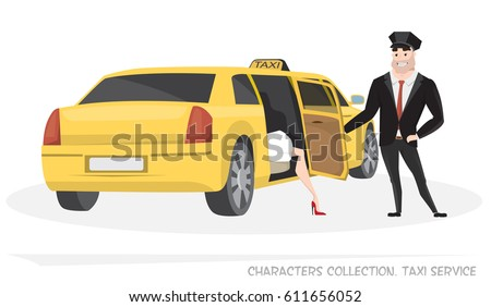 VIP taxi with a driver and passenger in Cartoon style. Delivery of passengers taxi service. Woman comes out of taxi. Taxi driver opens the door to passenger.
