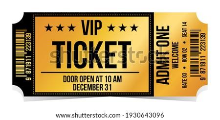 Vip ticket. Golden vip ticket. Template entrance ticket vip-pass. Admit one.