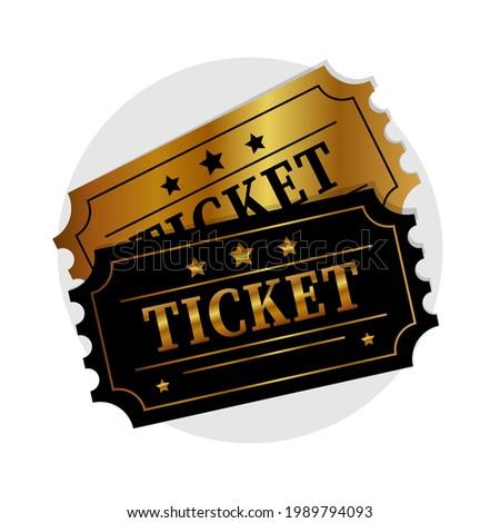 Vip ticket. Golden vip ticket. Template entrance ticket vip-pass. Ticket icon.