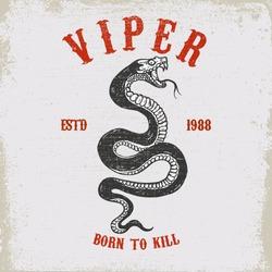 Viper snake illustration on grunge background. Design element for poster, card, t shirt, emblem. Vector illustration
