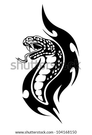 Viper tattoo with black flames. Vector illustration - stock vector