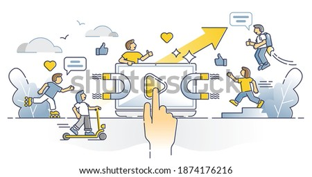 Viral content online with followers, share and like gain outline concept. Social media marketing with symbolic powerful magnet as influencer videos or posts for engagement growth vector illustration.