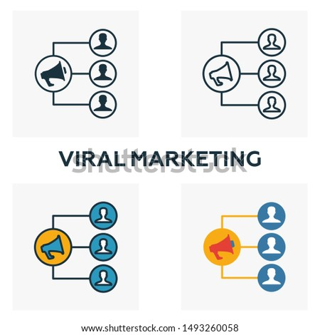 Viral Marketing icon set. Four elements in diferent styles from content icons collection. Creative viral marketing icons filled, outline, colored and flat symbols.