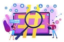 Viral marketing, trends analysis, modern advertising business. Social network monitoring, social media measurement, social listening concept. Bright vibrant violet vector isolated illustration