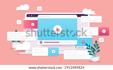 Viral spread video - Laptop with lots of video windows and content. Digital marketing and video content concept. Vector illustration.