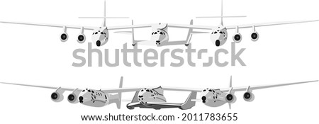 Virgin Galactic ,airplane on a white background, vector graphics, illustration Stock photo ©