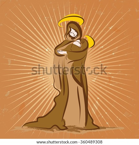 virgin maria with child on