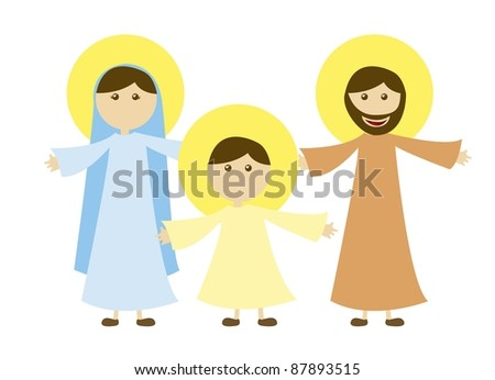 virgin mary and st. joseph with jesus isolated. vector