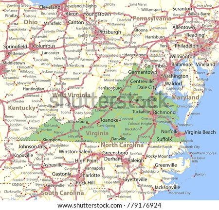 South Virginia Map.Virginia Map Shows State Borders Urban Areas Place Names Roads