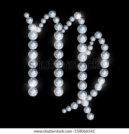 Virgo zodiac sign of diamonds. Object on a black background. Symbol of prediction and divination. Vector.
