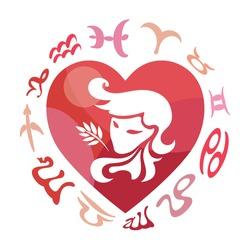 Virgo zodiac sign, vector illustration