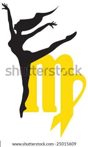 Virgo zodiac sign with a silhouette of a woman on a background of symbol.