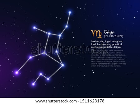 Virgo zodiacal constellation with bright stars. Virgo star sign and dates of birth on deep space background. Astrology horoscope with unique positive personality traits vector illustration.