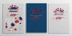 Virology Book Cover with Virus, Red Blood Cell, Testtubes and flasks. Set of Medical Layouts. Science Template. Vector EPS 10