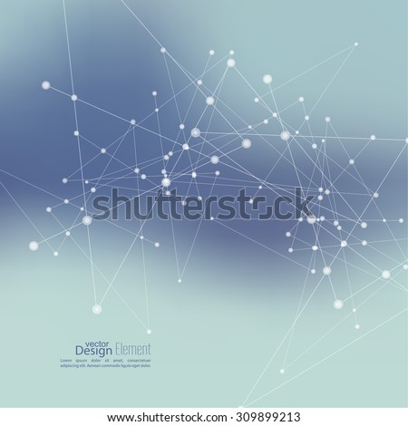 Virtual abstract background with particle, molecule structure.