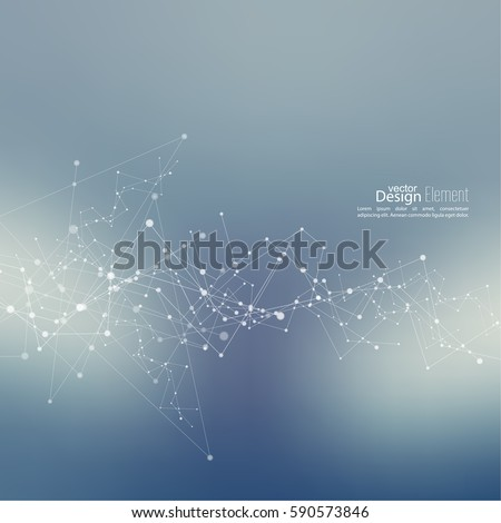 Virtual abstract background with particle, molecule structure. genetic and chemical compounds. Space and constellations. Science and connection concept. Social network. Blurry soft creative vector.
