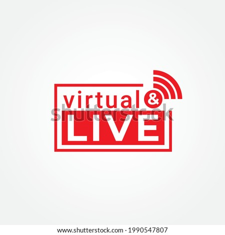 Virtual and Live logo concept with Square shape and signal icon. Broadcasting Company Logo Design Template isolated on white background. Red as Color identity