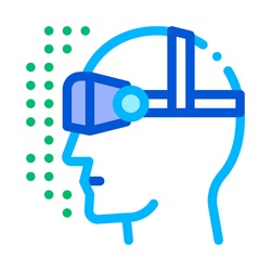 Virtual Artificial Intelligence Vector Sign Icon Thin Line. Artificial Intelligence Details Character Head Wearing Vr Glasses Spectacles Linear Pictogram. Fingerprint, Microchip Contour Illustration