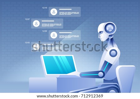 Virtual assistance of website or mobile applications, artificial intelligence concept. Vector illustration