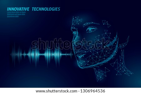 Virtual assistant voice recognition service technology. AI artificial intelligence robot support. Chatbot beautiful female face low poly vector illustration