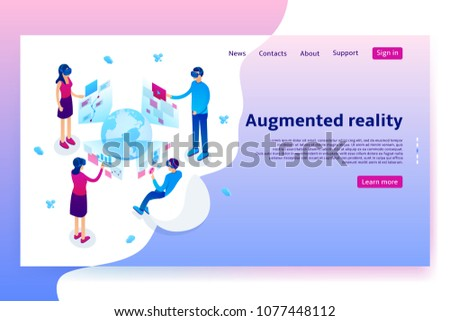 Virtual augmented reality concept. Modern Concept of with people learning different information in VR glasses. Vector Illustration with isometric men and women. - Shutterstock ID 1077448112