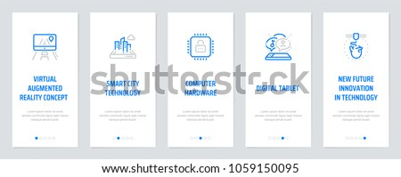 Virtual augmented reality concept , Smart city technology, Computer hardware, Digital tablet, New future innovation in technology Vertical Cards with strong metaphors. Template for website design.