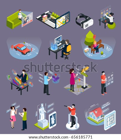 Virtual augmented reality 360 degree elements isometric icons collection with goggles visors smart phones isolated vector illustration
