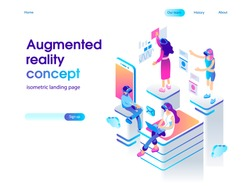 Virtual augmented reality glasses concept with people learning and entertaining. Landing page template. 3d vector isometric illustration.