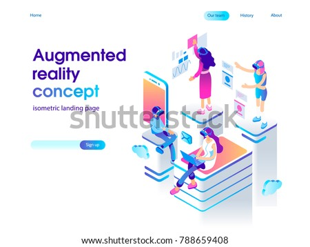 Virtual augmented reality glasses concept with people learning and entertaining. Landing page template. 3d vector isometric illustration. - Shutterstock ID 788659408