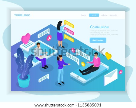 Virtual communication isometric landing web page with messaging people sitting on tablet and smartphone screens vector illustration  #1135885091