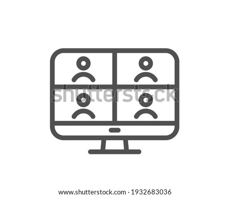 Virtual conference line icon. Online training sign. Video team presentation symbol. Quality design element. Linear style video conference icon. Editable stroke. Vector