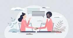 Virtual deal with distant online agreement handshake tiny person concept. Working from home communication using internet for business meetings and remote services collaboration vector illustration.