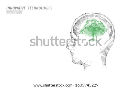Virtual digital biotechnology tree engineering concept. 3D render. Nature mind solution. Creative idea medical science. Eco polygon biology future research vector illustration