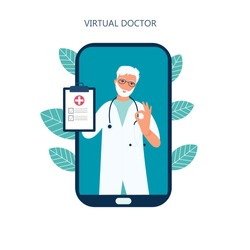 Virtual doctor app flat vector illustration. Mobile consultation, smart medical assistance. Modern telemedicine, e health concept, Coronavirus Covid-19, quarantine motivational poster.