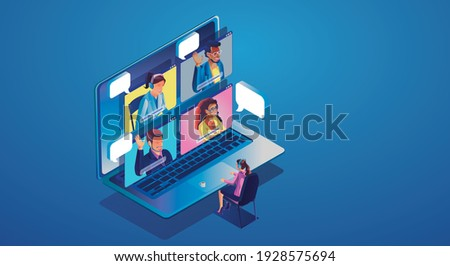 Virtual event People use Video conference landing Working Businessman on window screen taking with colleagues.Isometric Videoconferencing and online meeting workspace page, man and woman learning