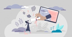 Virtual graduation ceremony concept, tiny person vector illustration. Receiving college or university diploma remotely. Successful happy female student getting digital study diploma paper certificate.