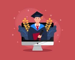 Virtual graduation in desktop computer mockup. Online graduation for class of 2020 because of corona virus pandemic. Man in academic gown. Flat vector design.