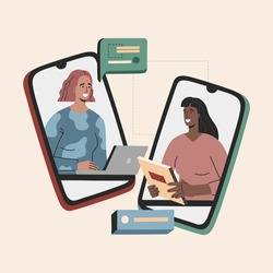 Virtual job interview, two woman have business conversation, hr and candidate for a vacancy, meeting by smartphone. Head hunter hiring, young employe in flat cartoon style, vector illustration.