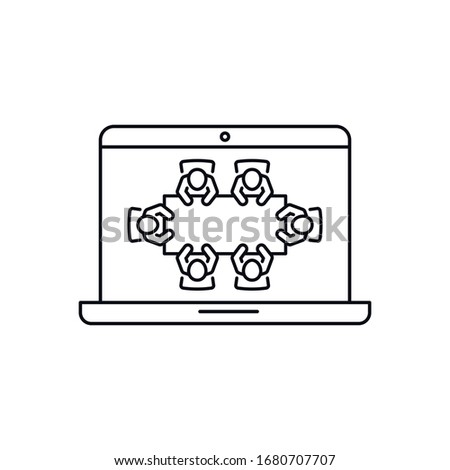 Virtual meeting vector icon. Brainstorming and teamwork. Teleconference or video conference. Distance learning education concept.